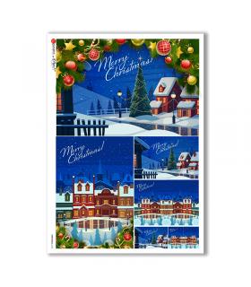 CHRISTMAS-0160. Carta di riso Natale per decoupage.