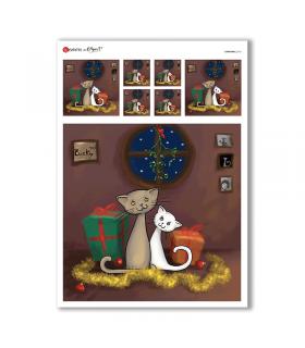 CHRISTMAS-0161. Carta di riso Natale per decoupage.