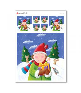 CHRISTMAS-0175. Carta di riso Natale per decoupage.