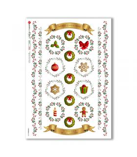CHRISTMAS-0300. Carta di riso vittoriana Natale per decoupage.