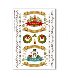 CHRISTMAS-0301. Carta di riso vittoriana Natale per decoupage.