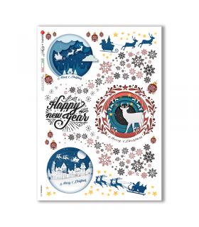 CHRISTMAS-0302. Carta di riso vittoriana Natale per decoupage.