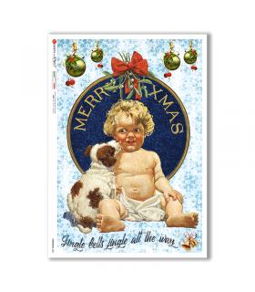 CHRISTMAS-0305. Carta di riso vittoriana Natale per decoupage.