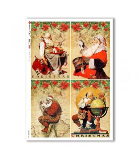 CHRISTMAS-0306. Carta di riso vittoriana Natale per decoupage.