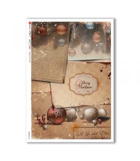 CHRISTMAS-0307. Carta di riso vittoriana Natale per decoupage.