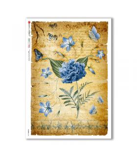 FLOWERS-0340. Papel de Arroz flores para decoupage.