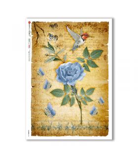 FLOWERS-0341. Papel de Arroz flores para decoupage.