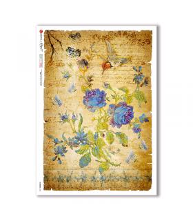 FLOWERS-0342. Papel de Arroz flores para decoupage.
