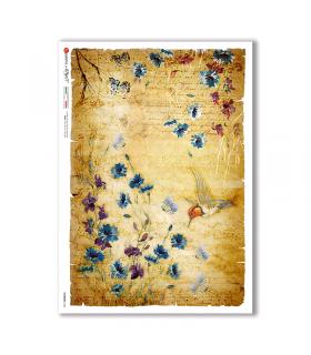 FLOWERS-0343. Papel de Arroz flores para decoupage.