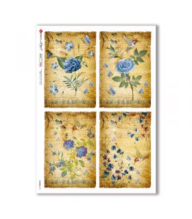 FLOWERS-0344. Carta di riso fiori per decoupage.
