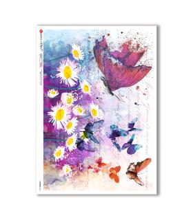 FLOWERS-0345. Carta di riso fiori per decoupage.