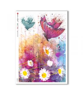 FLOWERS-0346. Papel de Arroz flores para decoupage.