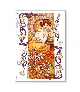 NOUVEAU-0017. Carta di riso art nouveau per decoupage.