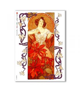 NOUVEAU-0018. Carta di riso art nouveau per decoupage.