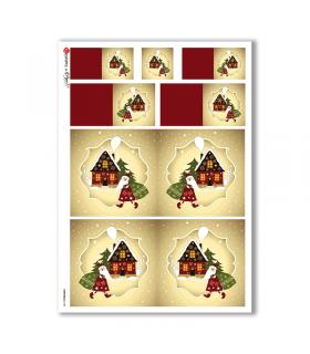 CHRISTMAS-0183. Carta di riso Natale per decoupage.