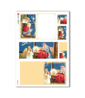 CHRISTMAS-0184. Carta di riso Natale per decoupage.