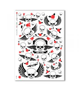 SKULL-0009. Skull Rice Paper for decoupage.
