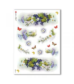 FLOWERS-0115. Carta di riso fiori per decoupage.