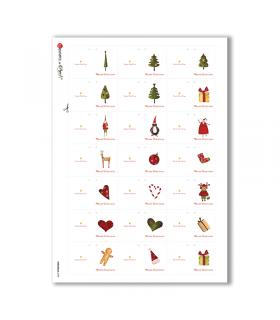 CHRISTMAS-0190. Carta di riso Natale per decoupage.
