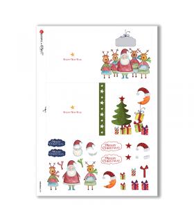 CHRISTMAS-0192. Carta di riso Natale per decoupage.