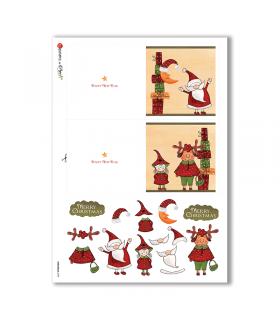 CHRISTMAS-0193. Carta di riso Natale per decoupage.