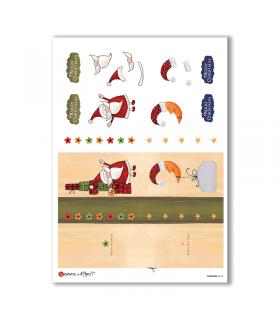 CHRISTMAS-0194. Carta di riso Natale per decoupage.