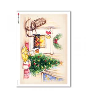 CHRISTMAS-0136. Carta di riso Natale per decoupage.