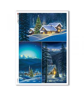 CHRISTMAS-0197. Carta di riso Natale per decoupage.