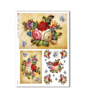 FLOWERS-0347. Papel de Arroz flores para decoupage.