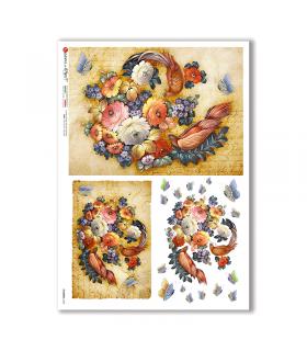 FLOWERS-0348. Papel de Arroz flores para decoupage.