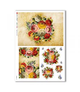 FLOWERS-0349. Papel de Arroz flores para decoupage.