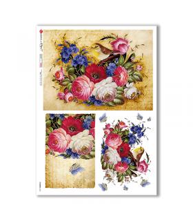 FLOWERS-0350. Papel de Arroz flores para decoupage.