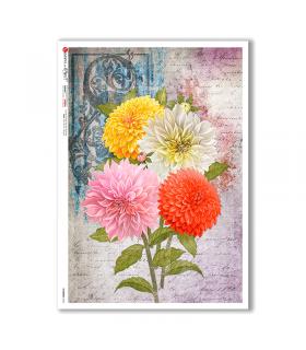 FLOWERS-0352. Papel de Arroz flores para decoupage.