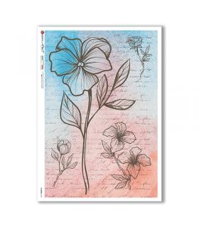 FLOWERS-0353. Papel de Arroz flores para decoupage.