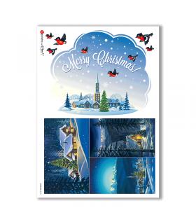 CHRISTMAS-0198. Carta di riso Natale per decoupage.