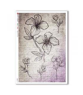 FLOWERS-0354. Carta di riso fiori per decoupage.