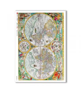 OLD-MAPS-0036. Carta di riso mappe antiche per decoupage.