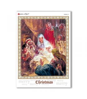 CHRISTMAS-0202. Carta di riso Natale per decoupage.