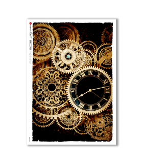 TIME-0021. Papel de Arroz relojes para decoupage.