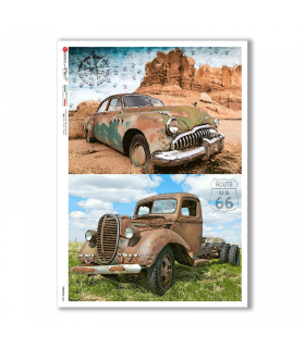 VEHICLES-0034. Carta di riso veicoli per decoupage.