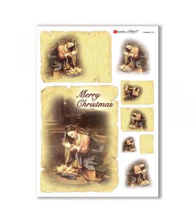 CHRISTMAS-0208. Carta di riso Natale per decoupage.