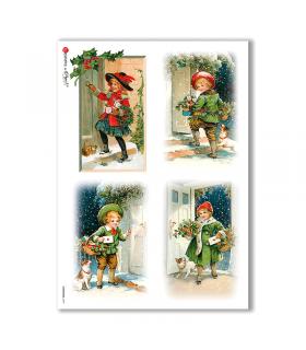 CHRISTMAS-0209. Carta di riso vittoriana Natale per decoupage.