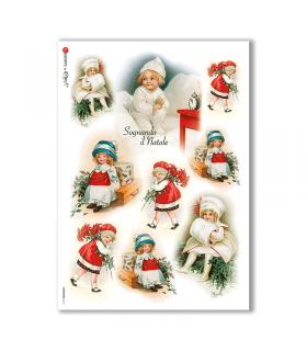 CHRISTMAS-0210. Papel de Arroz Navidad victoriano para decoupage.