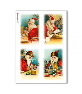 CHRISTMAS-0211. Carta di riso vittoriana Natale per decoupage.