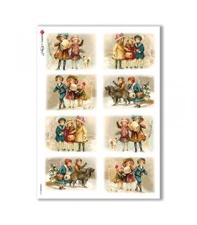 CHRISTMAS-0212. Papel de Arroz Navidad victoriano para decoupage.
