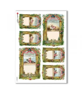 CHRISTMAS-0213. Carta di riso vittoriana Natale per decoupage.