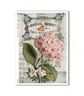 FLOWERS-0358. Papel de Arroz flores para decoupage.