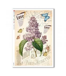 FLOWERS-0359. Carta di riso fiori per decoupage.