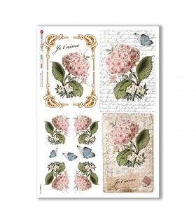 FLOWERS-0360. Papel de Arroz flores para decoupage.