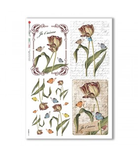 FLOWERS-0361. Carta di riso fiori per decoupage.